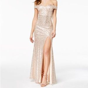 Sequined Off-The-Shoulder Gown